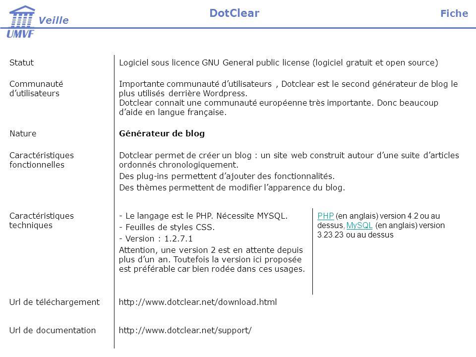 StatutLogiciel sous licence GNU General public license (logiciel gratuit et open source) Communauté dutilisateurs Importante communauté dutilisateurs, Dotclear est le second générateur de blog le plus utilisés derrière Wordpress.