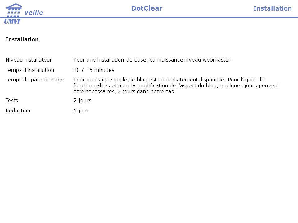Installation Niveau installateurPour une installation de base, connaissance niveau webmaster.