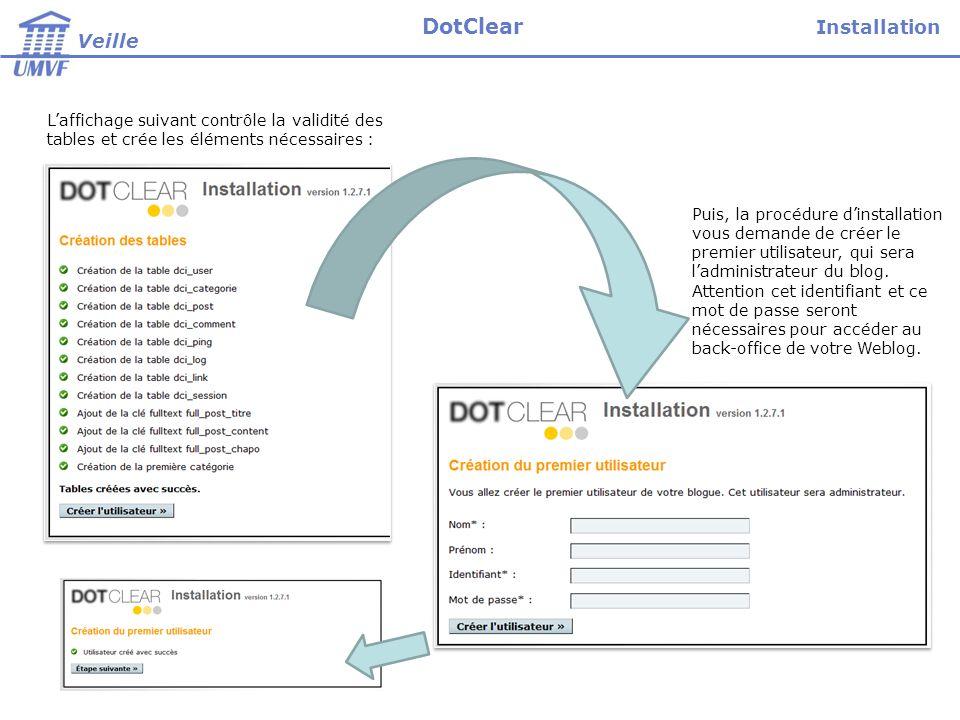 Laffichage suivant contrôle la validité des tables et crée les éléments nécessaires : Puis, la procédure dinstallation vous demande de créer le premier utilisateur, qui sera ladministrateur du blog.