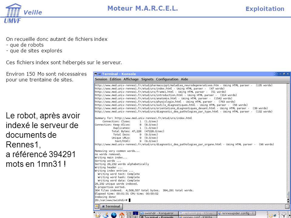 On recueille donc autant de fichiers index - que de robots - que de sites explorés Ces fichiers index sont hébergés sur le serveur. Environ 150 Mo son