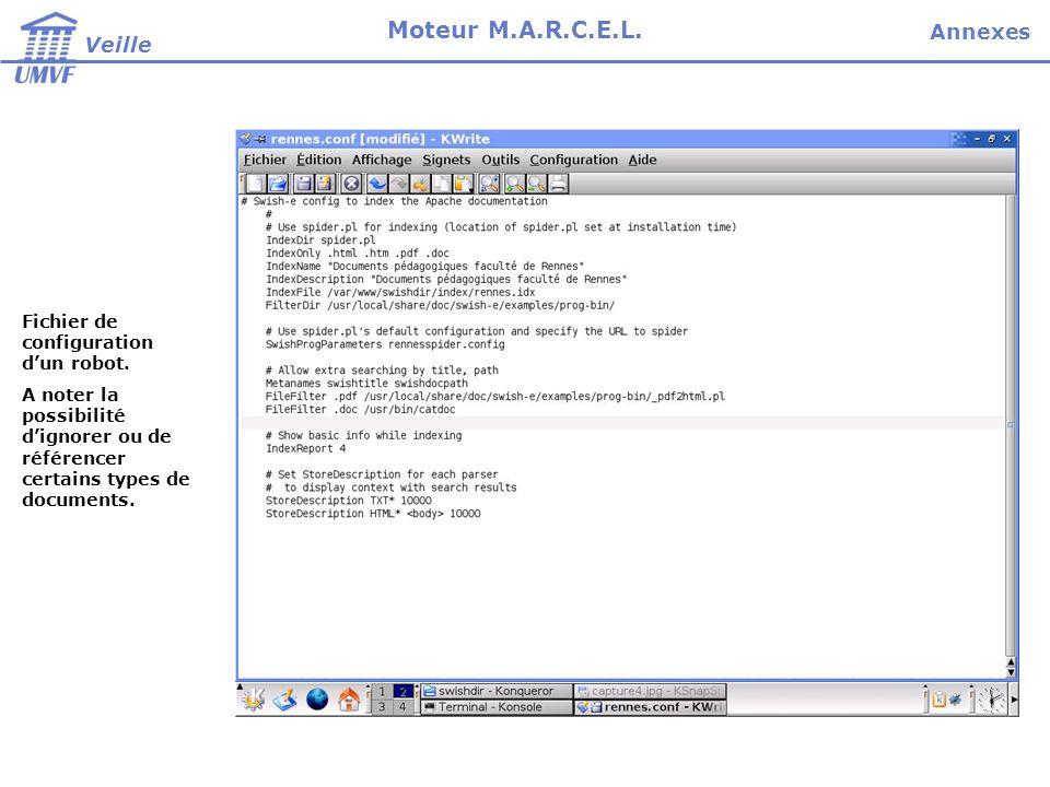 Fichier de configuration dun robot. A noter la possibilité dignorer ou de référencer certains types de documents. Veille Moteur M.A.R.C.E.L. Annexes