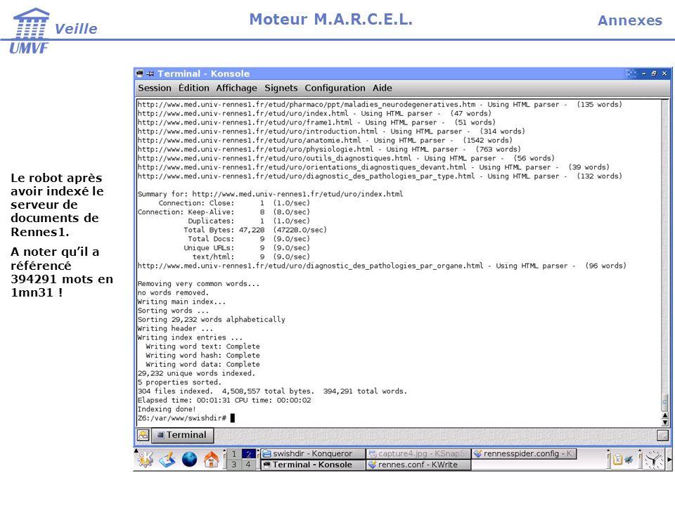 Le robot après avoir indexé le serveur de documents de Rennes1. A noter quil a référencé 394291 mots en 1mn31 ! Veille Moteur M.A.R.C.E.L. Annexes