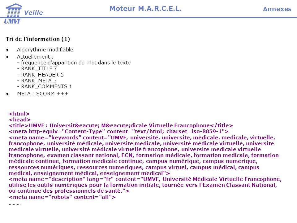 Veille Moteur M.A.R.C.E.L. Tri de linformation (1) Algorythme modifiable Actuellement : - fréquence dapparition du mot dans le texte - RANK_TITLE 7 -