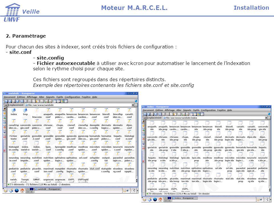 Installation Veille Moteur M.A.R.C.E.L. 2. Paramétrage Pour chacun des sites à indexer, sont créés trois fichiers de configuration : - site.conf - sit