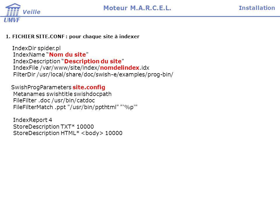1. FICHIER SITE.CONF : pour chaque site à indexer IndexDir spider.pl IndexName Nom du site