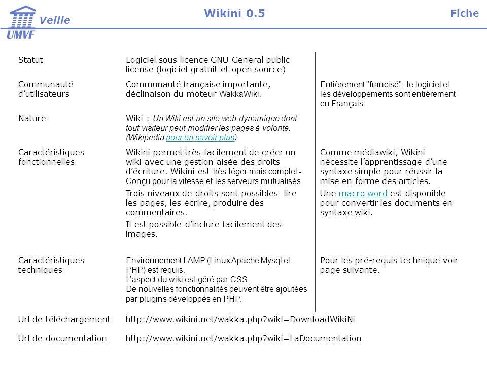 StatutLogiciel sous licence GNU General public license (logiciel gratuit et open source) Communauté dutilisateurs Communauté française importante, déclinaison du moteur WakkaWiki.