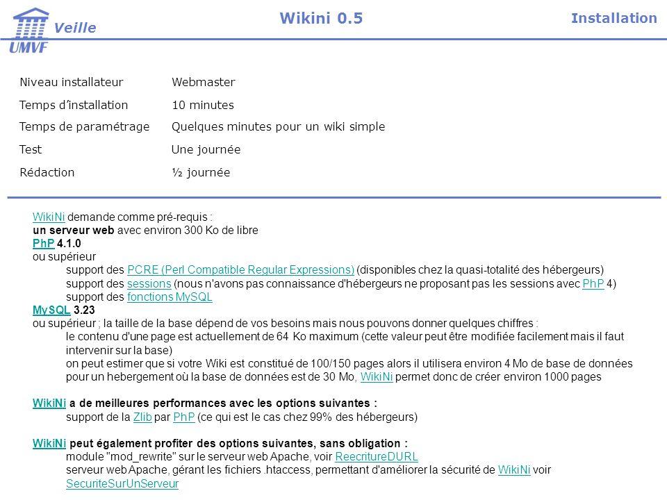 Niveau installateurWebmaster Temps dinstallation10 minutes Temps de paramétrageQuelques minutes pour un wiki simple TestUne journée Rédaction½ journée WikiNiWikiNi demande comme pré-requis : un serveur web avec environ 300 Ko de libre PhPPhP 4.1.0 ou supérieur support des PCRE (Perl Compatible Regular Expressions) (disponibles chez la quasi-totalité des hébergeurs)PCRE (Perl Compatible Regular Expressions) support des sessions (nous n avons pas connaissance d hébergeurs ne proposant pas les sessions avec PhP 4)sessionsPhP support des fonctions MySQLfonctions MySQL MySQLMySQL 3.23 ou supérieur ; la taille de la base dépend de vos besoins mais nous pouvons donner quelques chiffres : le contenu d une page est actuellement de 64 Ko maximum (cette valeur peut être modifiée facilement mais il faut intervenir sur la base) on peut estimer que si votre Wiki est constitué de 100/150 pages alors il utilisera environ 4 Mo de base de données pour un hebergement où la base de données est de 30 Mo, WikiNi permet donc de créer environ 1000 pagesWikiNi WikiNi a de meilleures performances avec les options suivantes : support de la Zlib par PhP (ce qui est le cas chez 99% des hébergeurs)ZlibPhP WikiNiWikiNi peut également profiter des options suivantes, sans obligation : module mod_rewrite sur le serveur web Apache, voir ReecritureDURLReecritureDURL serveur web Apache, gérant les fichiers.htaccess, permettant d améliorer la sécurité de WikiNi voir SecuriteSurUnServeurWikiNi SecuriteSurUnServeur Installation Veille Wikini 0.5