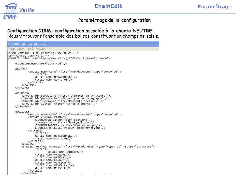 Paramétrage de la configuration Configuration CIRM : configuration associée à la charte NEUTRE.