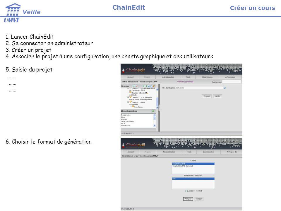 Créer un cours (projet) 1.Lancer ChainEdit 2. Se connecter en administrateur 3.