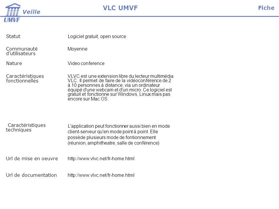 Installation, paramétrage et test Niveau installateur Technicien Temps dinstallation Néant Temps de paramétrage 1 jour Tests 3 jours Rédaction 1 jour Fiche Veille VLC UMVF