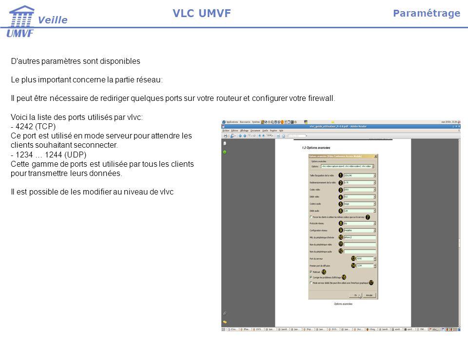 Démarrer vlvc Cliquer sur --> fichier --> ouvrir un fichier --> VLVC Cocher la case server uniquement si on configure vlvc sur une machine serveur Définir le type de conférence (aphitheatre, réunion etc..) Pour chaque client qui voudra se connecter, il faut renseigner l adresse ip du serveur le type de conférence le login et le mot de passe Pour se connecter il faudra cliquer sur valider Utilisation Veille VLC UMVF