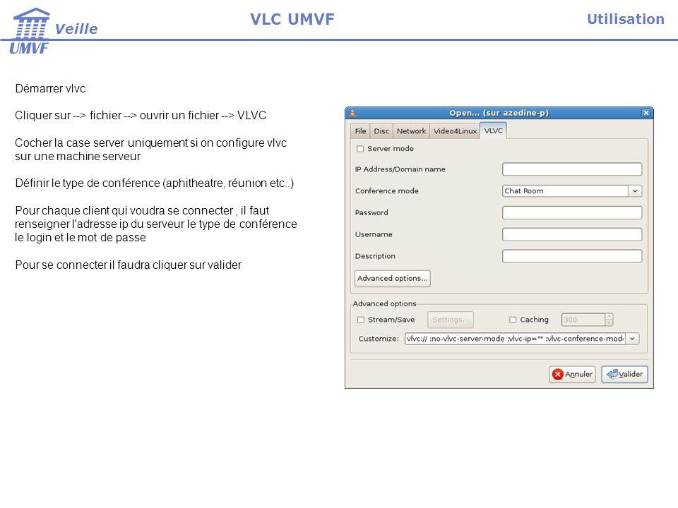 Les options avancées concernent la gestion fine de la visioconférence d un point de vue video et réseaux Par exemple définir les ports de communication Paramétrage Veille VLC UMVF