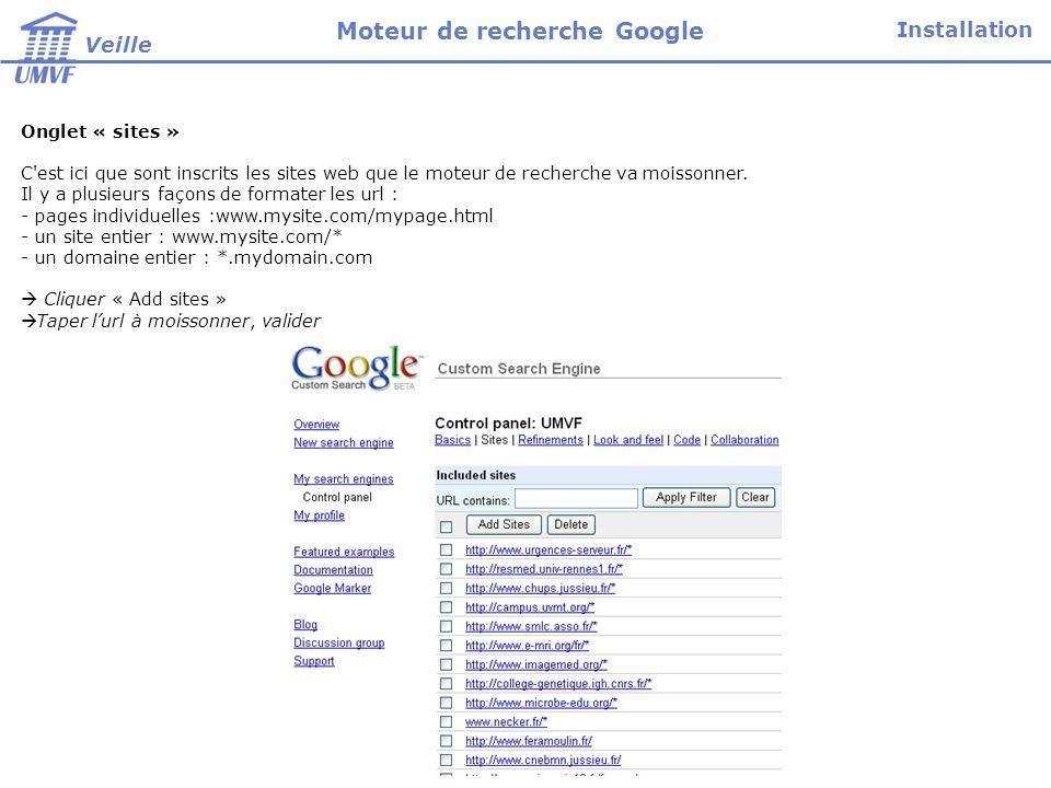 Onglet « sites » C'est ici que sont inscrits les sites web que le moteur de recherche va moissonner. Il y a plusieurs façons de formater les url : - p