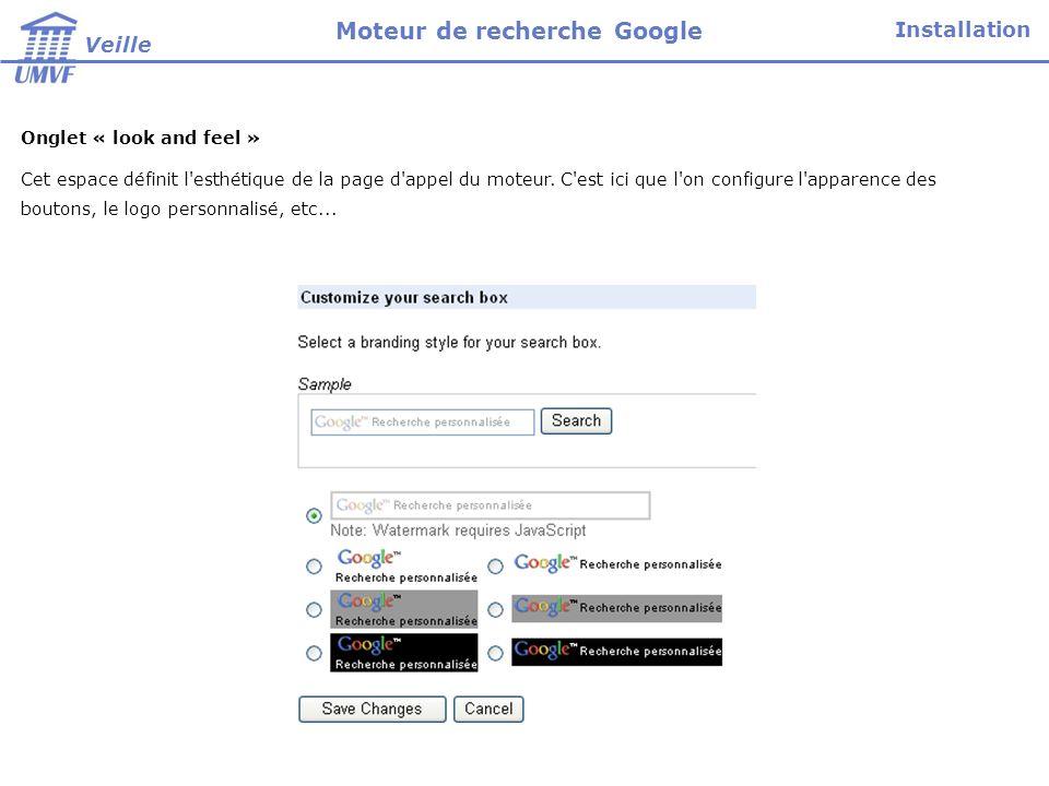 Onglet « code » Cet onglet permet de copier le code HTML à insérer dans la page web de votre site qui héberge le moteur.