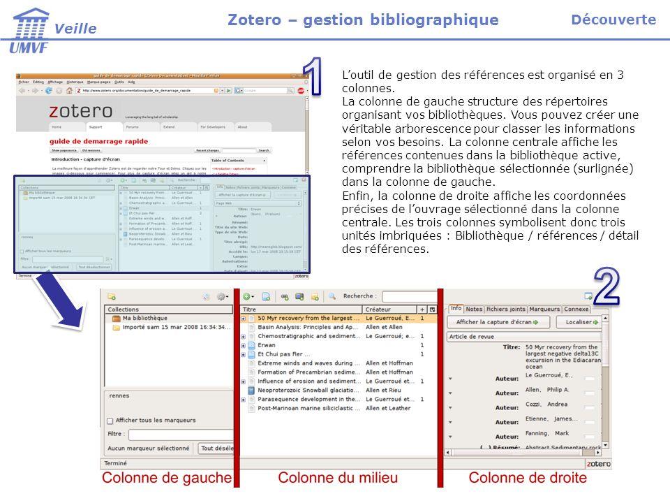 Loutil de gestion des références est organisé en 3 colonnes.