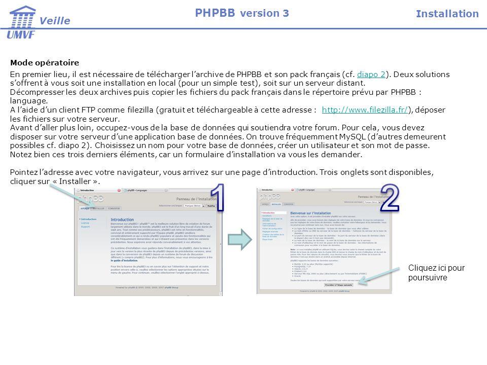 Mode opératoire En premier lieu, il est nécessaire de télécharger larchive de PHPBB et son pack français (cf.