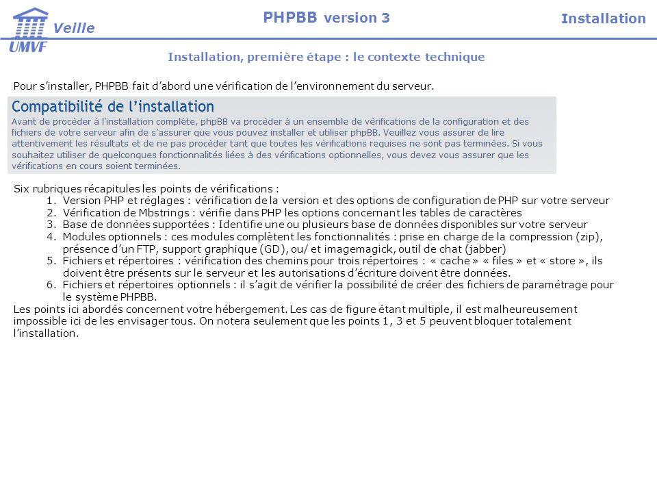 Installation, première étape : le contexte technique Six rubriques récapitules les points de vérifications : 1.Version PHP et réglages : vérification de la version et des options de configuration de PHP sur votre serveur 2.Vérification de Mbstrings : vérifie dans PHP les options concernant les tables de caractères 3.Base de données supportées : Identifie une ou plusieurs base de données disponibles sur votre serveur 4.Modules optionnels : ces modules complètent les fonctionnalités : prise en charge de la compression (zip), présence dun FTP, support graphique (GD), ou/ et imagemagick, outil de chat (jabber) 5.Fichiers et répertoires : vérification des chemins pour trois répertoires : « cache » « files » et « store », ils doivent être présents sur le serveur et les autorisations décriture doivent être données.