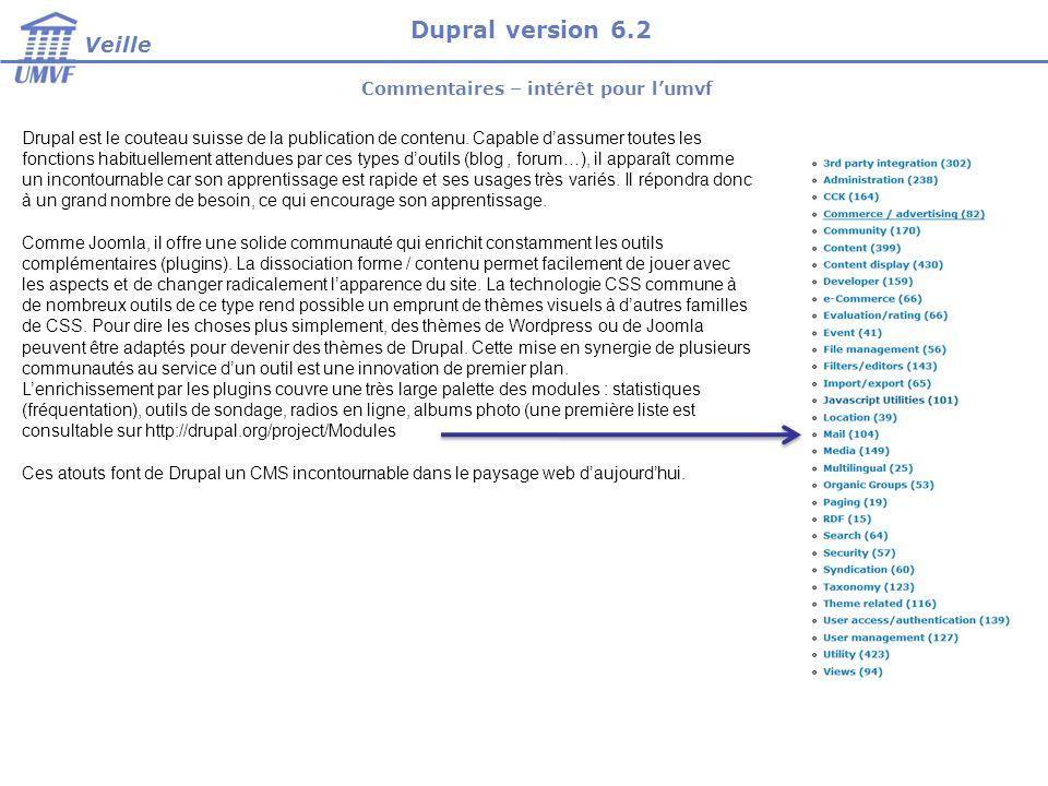 Commentaires – intérêt pour lumvf Drupal est le couteau suisse de la publication de contenu. Capable dassumer toutes les fonctions habituellement atte