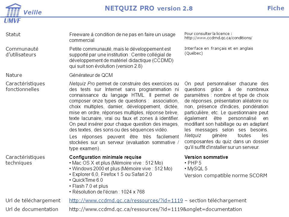 Installation, paramétrage et tests Niveau installateurTechnicien pour linstallation en local de Netquiz pro.