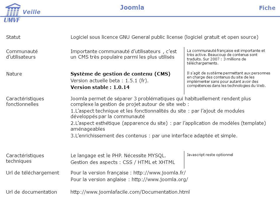 StatutLogiciel sous licence GNU General public license (logiciel gratuit et open source) Communauté dutilisateurs Importante communauté dutilisateurs,