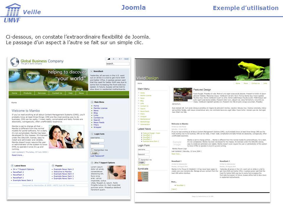 Ci-dessous, on constate lextraordinaire flexibilité de Joomla. Le passage dun aspect à lautre se fait sur un simple clic. Exemple dutilisation Veille
