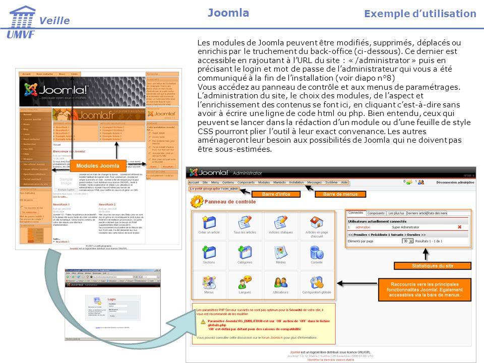 Les modules de Joomla peuvent être modifiés, supprimés, déplacés ou enrichis par le truchement du back-office (ci-dessous). Ce dernier est accessible