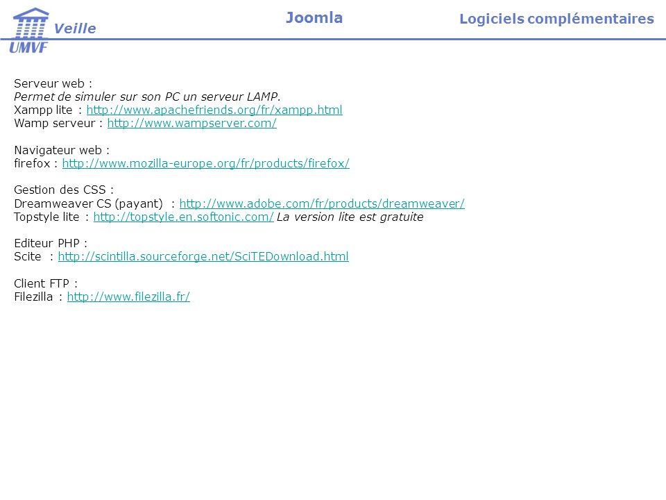 Serveur web : Permet de simuler sur son PC un serveur LAMP. Xampp lite : http://www.apachefriends.org/fr/xampp.htmlhttp://www.apachefriends.org/fr/xam