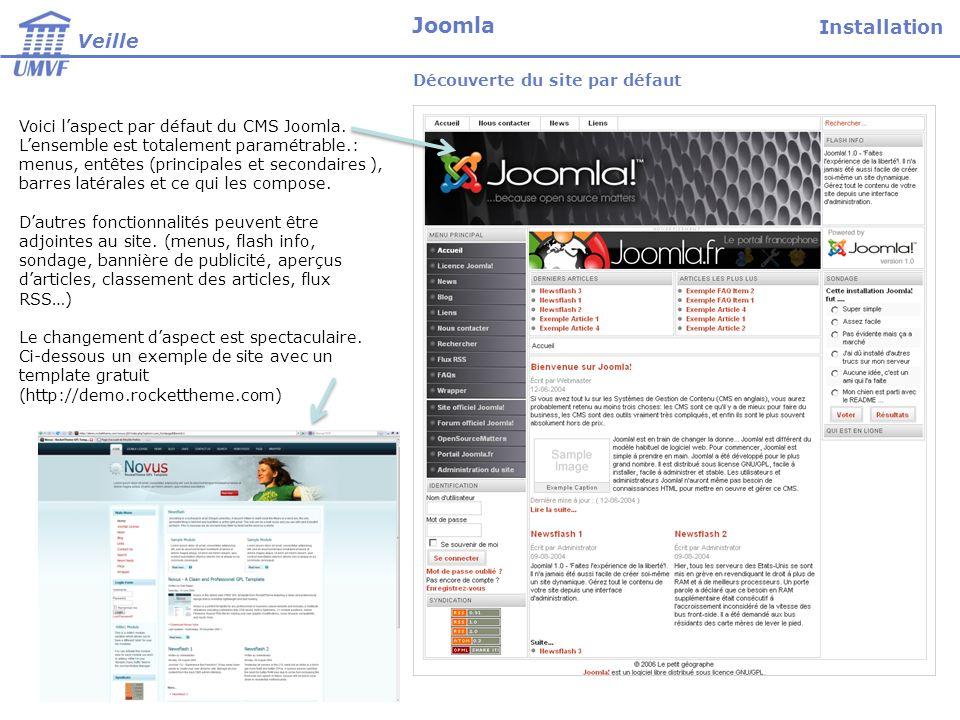 Voici laspect par défaut du CMS Joomla. Lensemble est totalement paramétrable.: menus, entêtes (principales et secondaires ), barres latérales et ce q