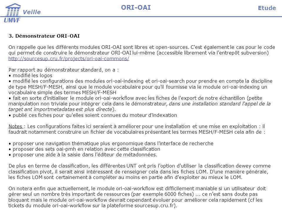Veille ORI-OAI 3. Démonstrateur ORI-OAI On rappelle que les différents modules ORI-OAI sont libres et open-sources. C'est également le cas pour le cod