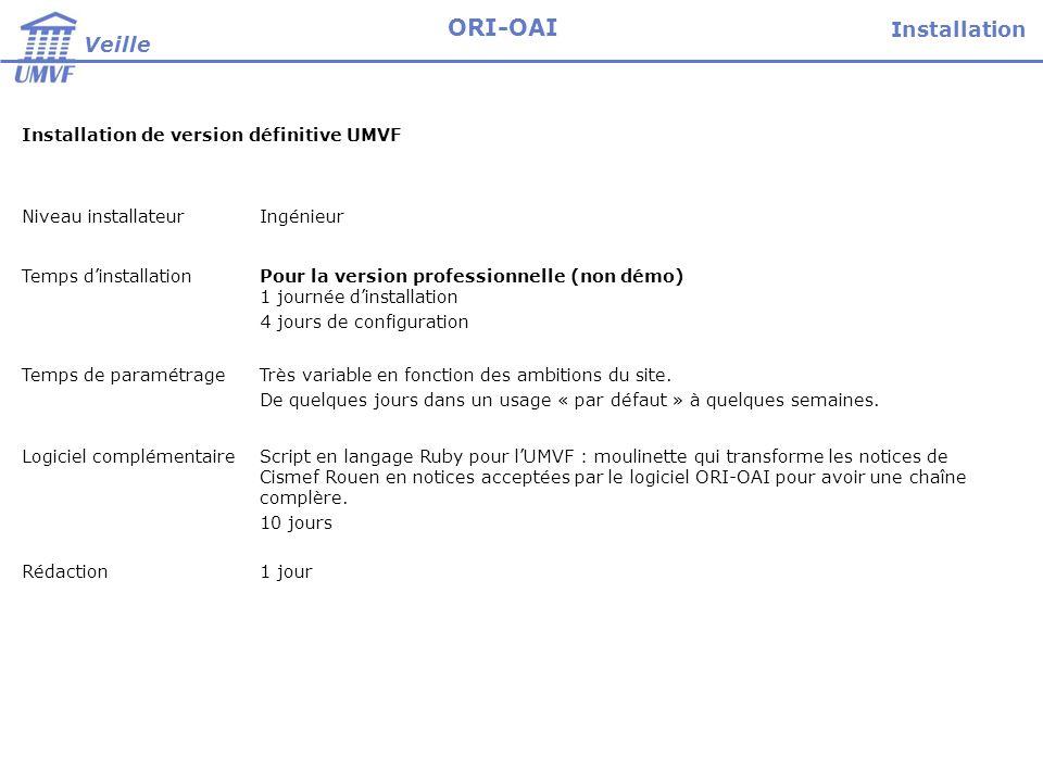 Installation de version définitive UMVF Niveau installateurIngénieur Temps dinstallationPour la version professionnelle (non démo) 1 journée dinstalla