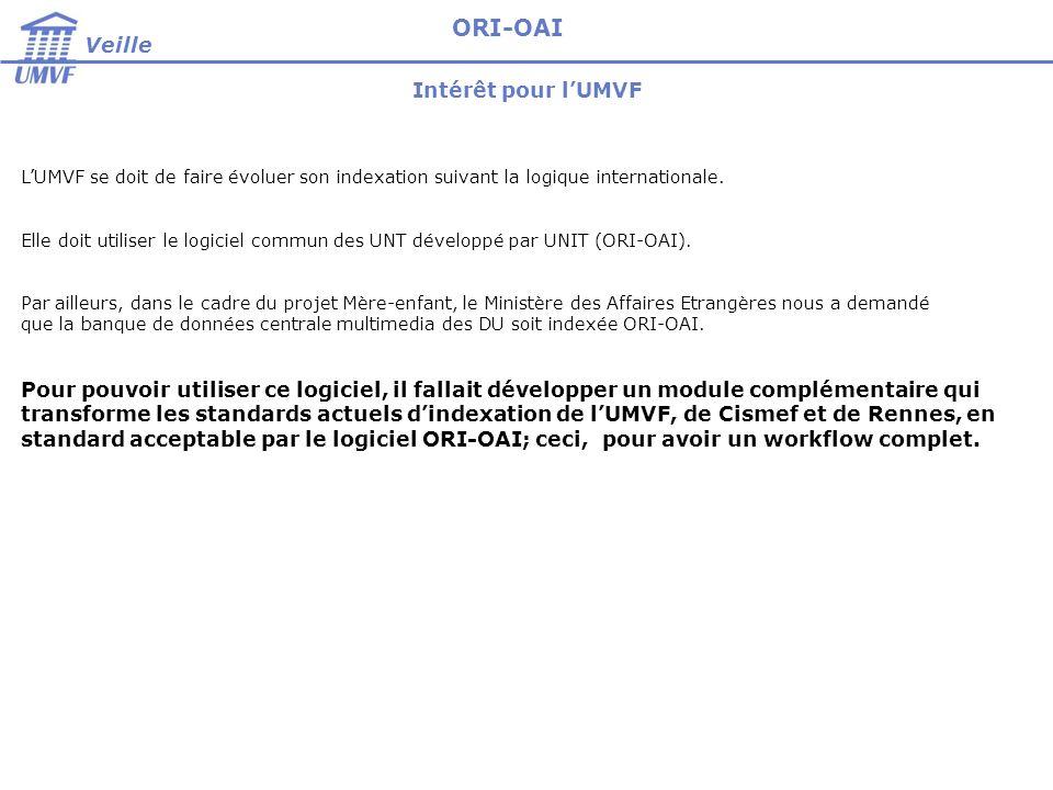 Intérêt pour lUMVF Veille ORI-OAI LUMVF se doit de faire évoluer son indexation suivant la logique internationale. Elle doit utiliser le logiciel comm