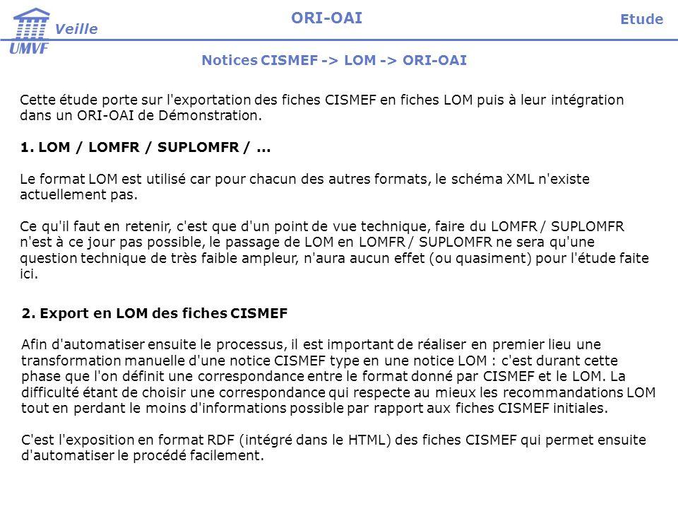 Etude Veille ORI-OAI Notices CISMEF -> LOM -> ORI-OAI Cette étude porte sur l exportation des fiches CISMEF en fiches LOM puis à leur intégration dans un ORI-OAI de Démonstration.