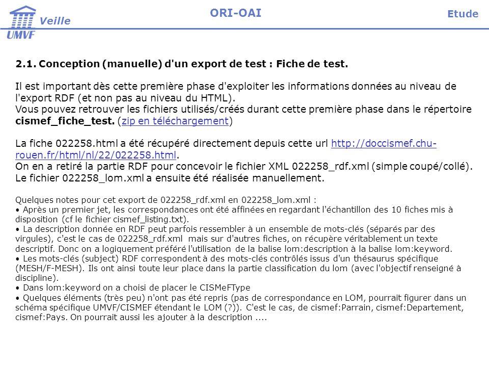Veille ORI-OAI 2.1. Conception (manuelle) d'un export de test : Fiche de test. Il est important dès cette première phase d'exploiter les informations