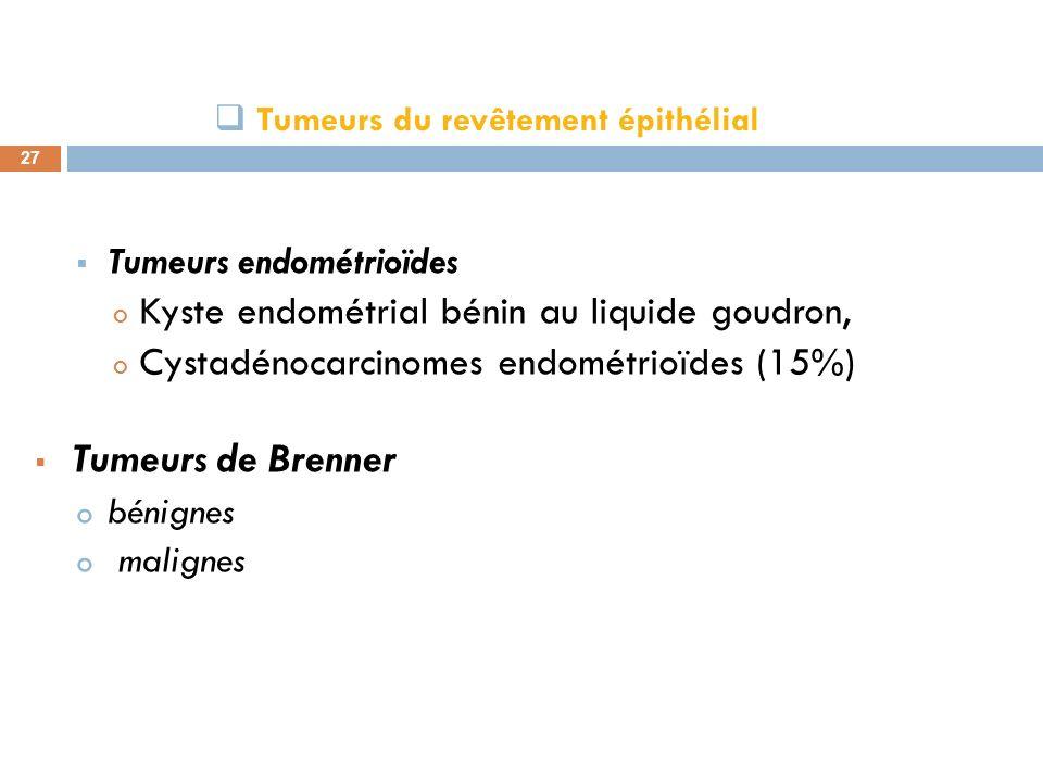 Tumeurs du revêtement épithélial 27 Tumeurs endométrioïdes o Kyste endométrial bénin au liquide goudron, o Cystadénocarcinomes endométrioïdes (15%) Tu
