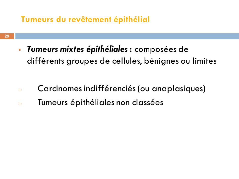 Tumeurs du revêtement épithélial 29 Tumeurs mixtes épithéliales : composées de différents groupes de cellules, bénignes ou limites o Carcinomes indiff