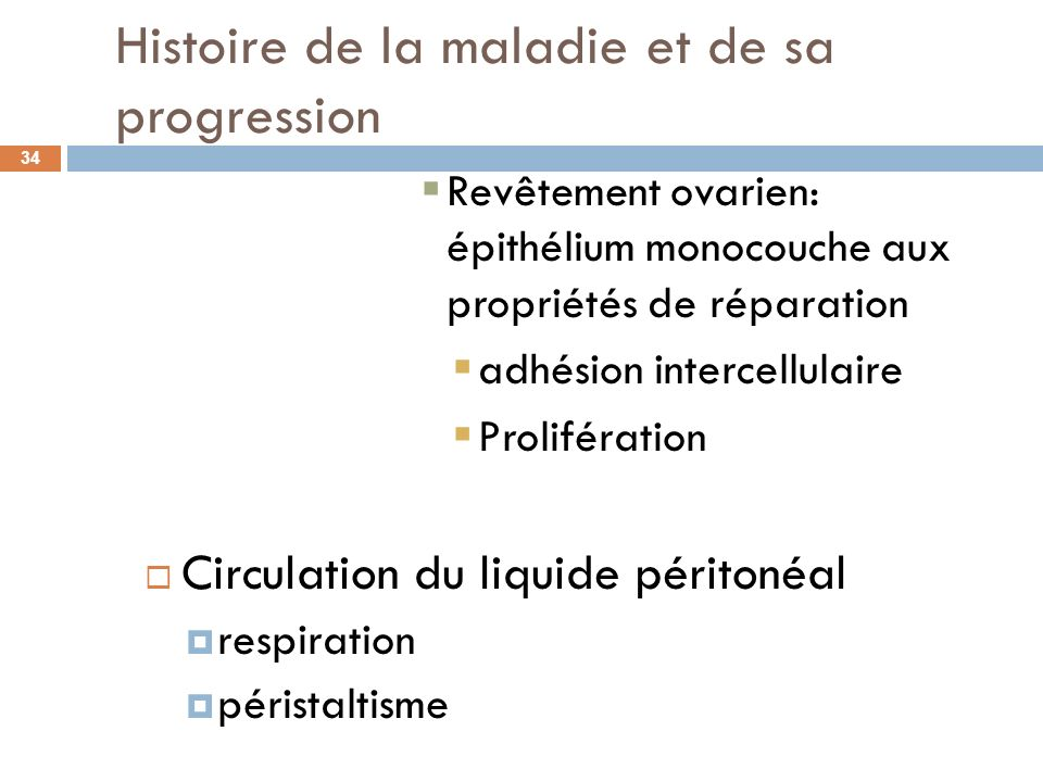 Histoire de la maladie et de sa progression 34 Revêtement ovarien: épithélium monocouche aux propriétés de réparation adhésion intercellulaire Prolifé