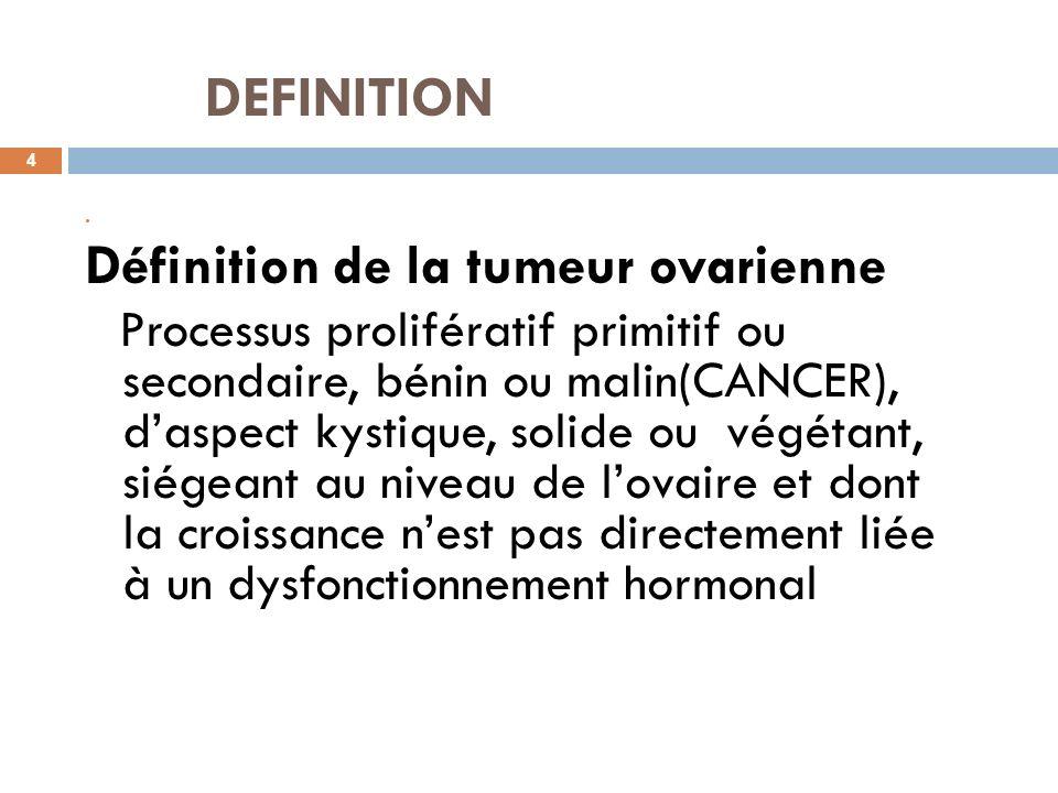 DEFINITION 4 Définition de la tumeur ovarienne Processus prolifératif primitif ou secondaire, bénin ou malin(CANCER), daspect kystique, solide ou végé