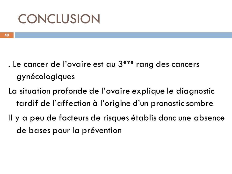 CONCLUSION 40. Le cancer de lovaire est au 3 ème rang des cancers gynécologiques La situation profonde de lovaire explique le diagnostic tardif de laf