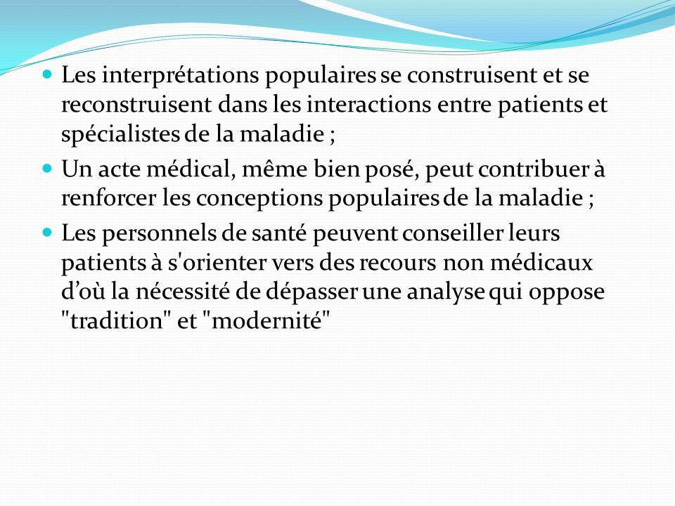 Les interprétations populaires se construisent et se reconstruisent dans les interactions entre patients et spécialistes de la maladie ; Un acte médic