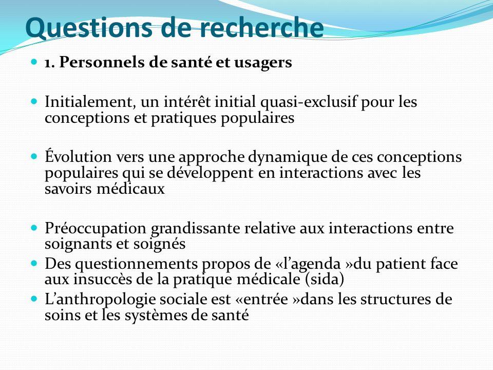 Questions de recherche 1. Personnels de santé et usagers Initialement, un intérêt initial quasi-exclusif pour les conceptions et pratiques populaires