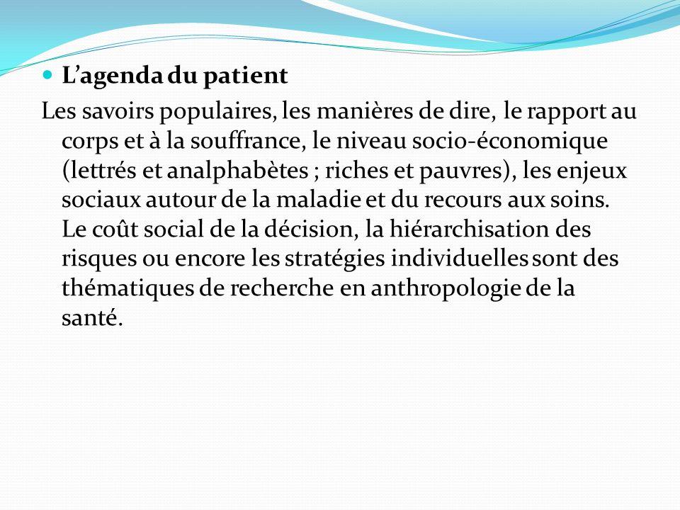 Lagenda du patient Les savoirs populaires, les manières de dire, le rapport au corps et à la souffrance, le niveau socio-économique (lettrés et analph