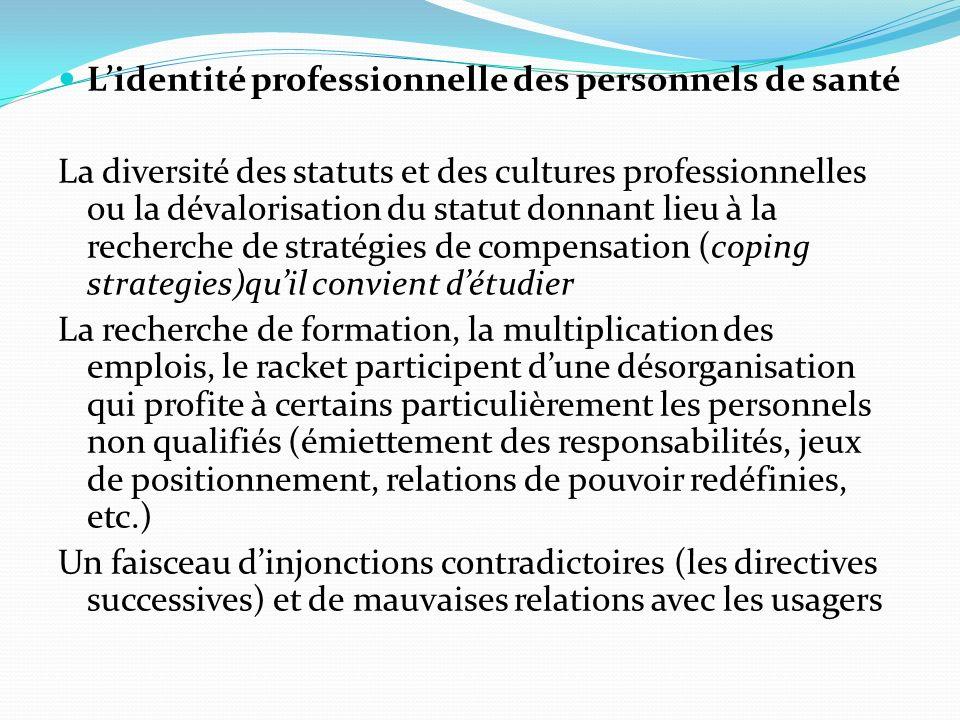 Lidentité professionnelle des personnels de santé La diversité des statuts et des cultures professionnelles ou la dévalorisation du statut donnant lie