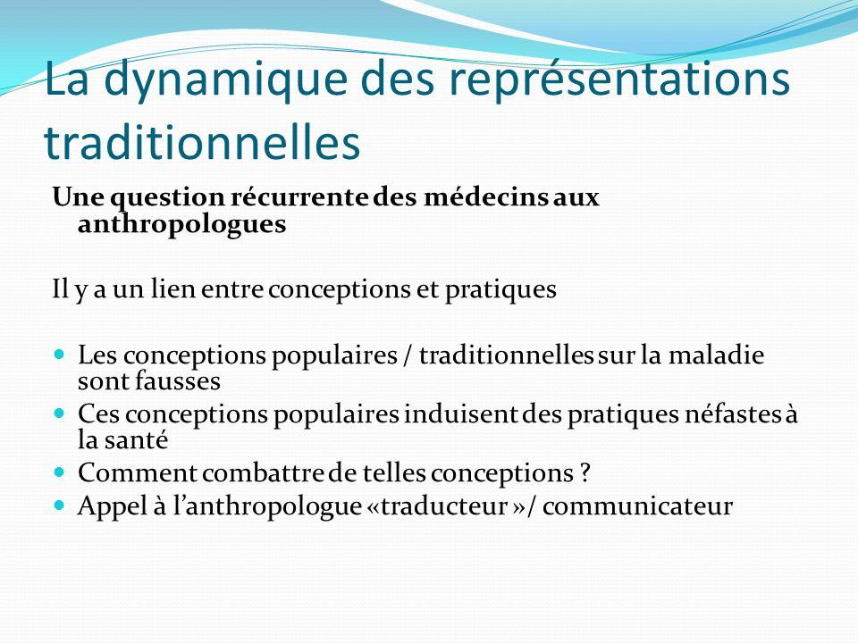 La dynamique des représentations traditionnelles Une question récurrente des médecins aux anthropologues Il y a un lien entre conceptions et pratiques