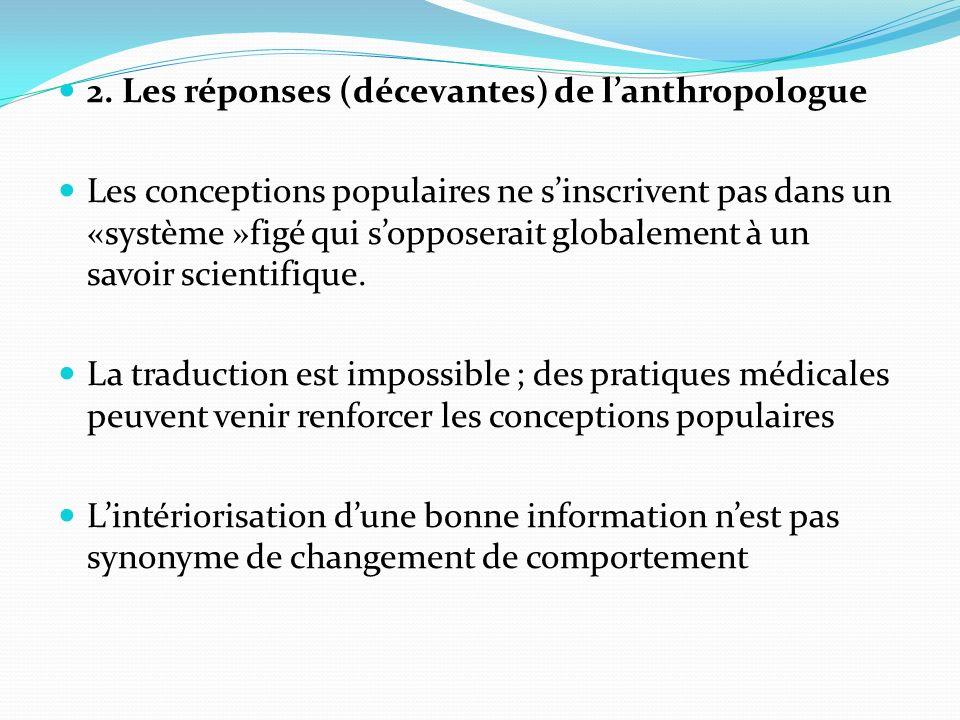 2. Les réponses (décevantes) de lanthropologue Les conceptions populaires ne sinscrivent pas dans un «système »figé qui sopposerait globalement à un s