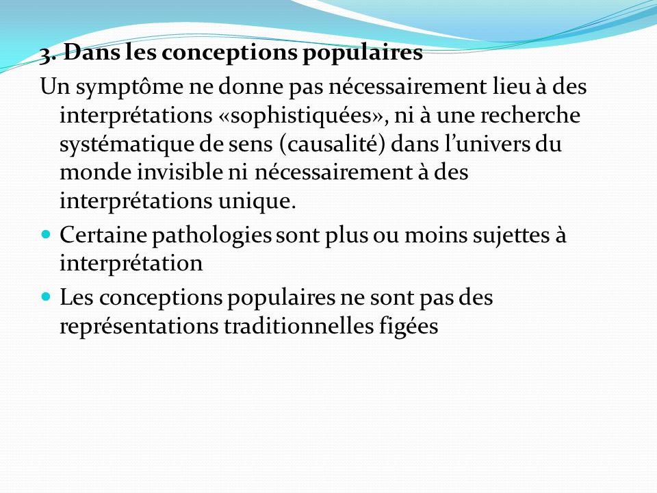 3. Dans les conceptions populaires Un symptôme ne donne pas nécessairement lieu à des interprétations «sophistiquées», ni à une recherche systématique