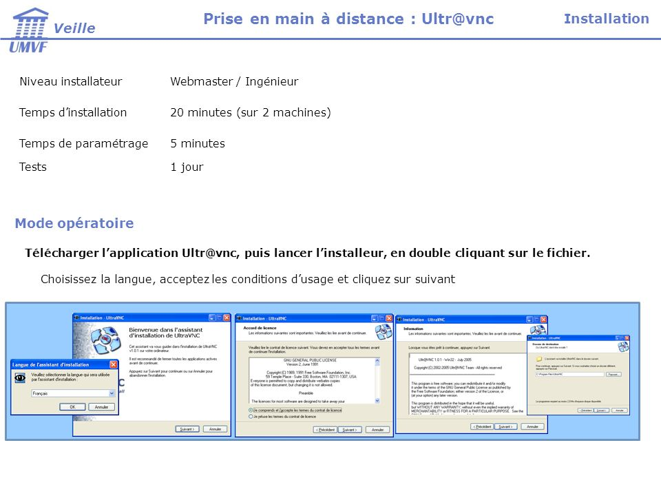 Niveau installateurWebmaster / Ingénieur Temps dinstallation20 minutes (sur 2 machines) Temps de paramétrage5 minutes Tests1 jour Choisissez la langue