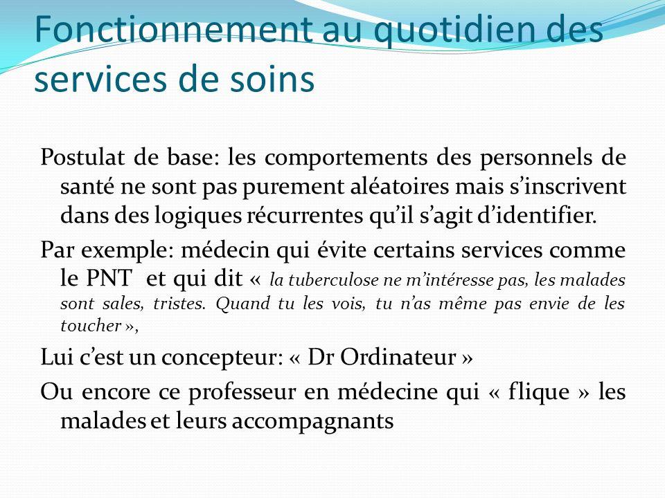 Fonctionnement au quotidien des services de soins Postulat de base: les comportements des personnels de santé ne sont pas purement aléatoires mais sinscrivent dans des logiques récurrentes quil sagit didentifier.
