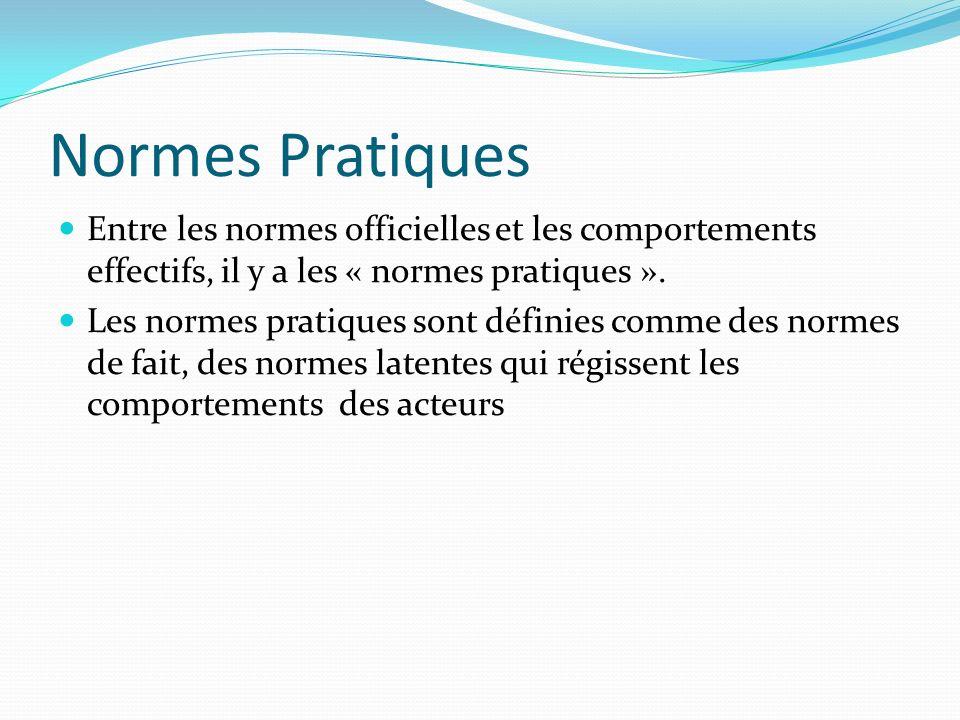 Normes Pratiques Entre les normes officielles et les comportements effectifs, il y a les « normes pratiques ».