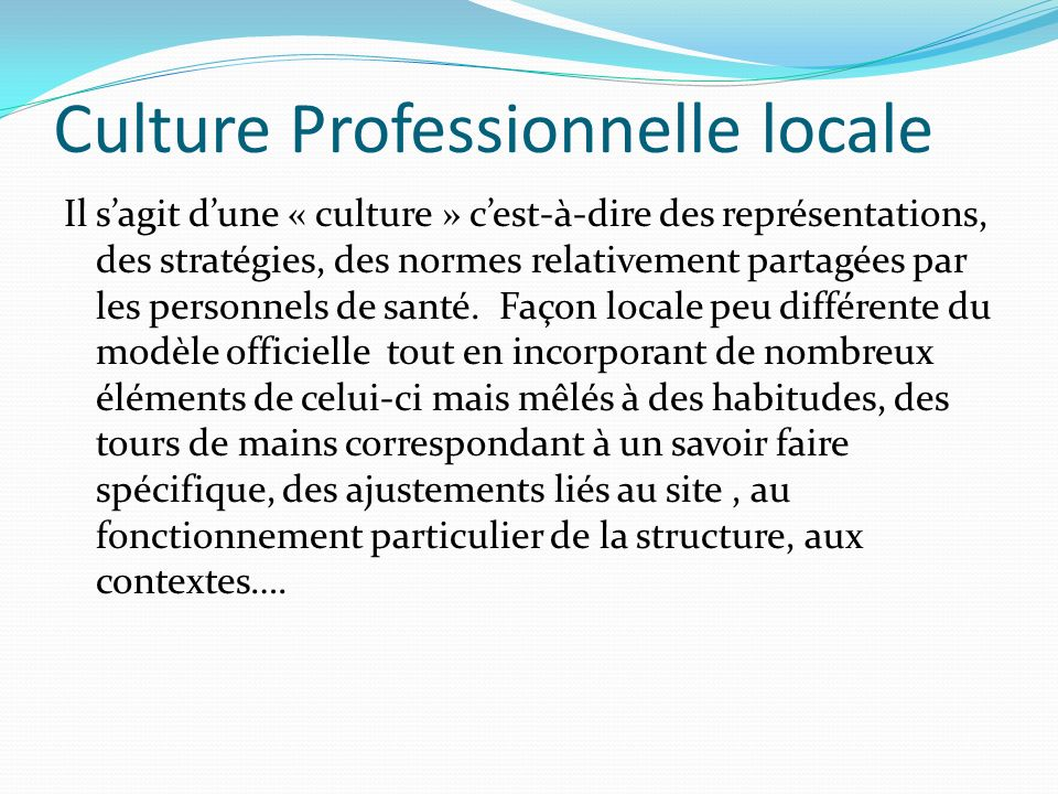 Culture Professionnelle locale Il sagit dune « culture » cest-à-dire des représentations, des stratégies, des normes relativement partagées par les personnels de santé.