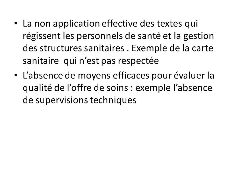 La non application effective des textes qui régissent les personnels de santé et la gestion des structures sanitaires. Exemple de la carte sanitaire q